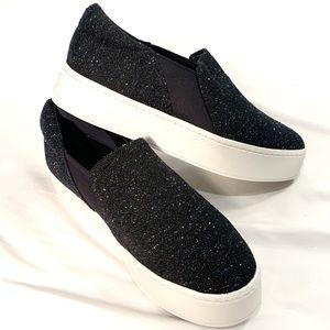 NIB Vince Warren Navy Tweed Platform Sneaker